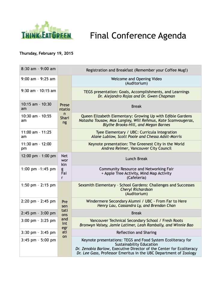Final Conference Agenda Available For Viewing  ThinkEatgreenSchool